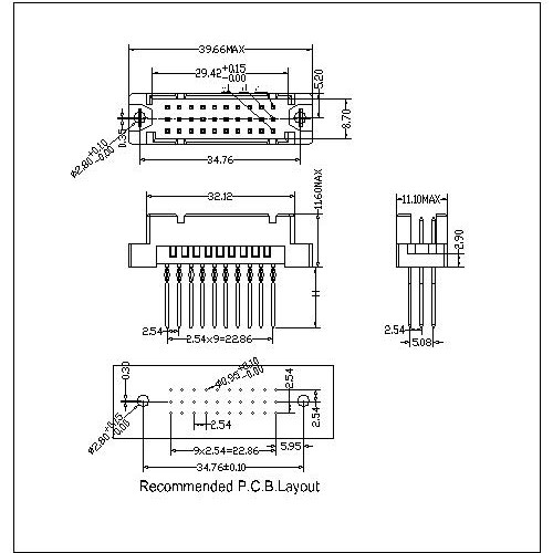 DMS-XX-XXX-322 Vertical Plug Type 0.33R Compliant press-Fit Connectors 30 Positions-Model