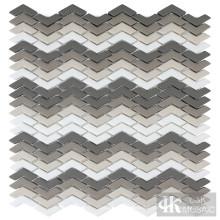 Grey Shading Mix Chevron Glass Mosaic Tiles Wall