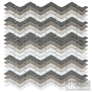 Grey Shading Mix Chevron Glasmozaïek Tegels Wand