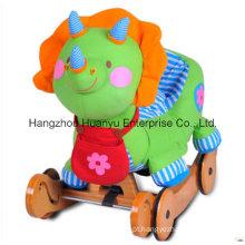 Multifunções Stuffed rocking animal-dinossauro balancim com rodas