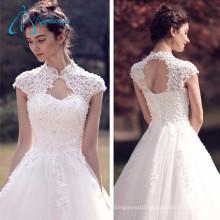 Tulle Satin Crystal Pearls Lace Princess Wedding Dresses
