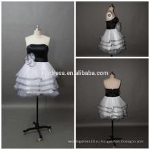 Милая Necklline на заказ короткое мини-проекты вечерние наряды ED083 черный и белый коктейльное платье
