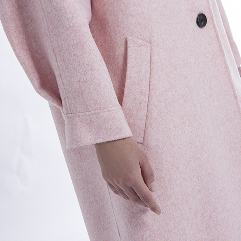 The Side of Pink Single-row Button Cashmere Coat