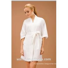 White bleached unisex 50% cotton 50% polyester waffle kimono bathrobe