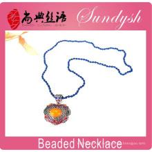 Gros Bijoux ethniques Unique à la main bleu Long Beade Big pendentif collier Custome bijoux