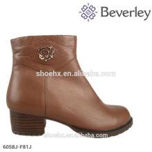 Flat heel women ankle boot Iron decoration fashion design for women winter fur boot