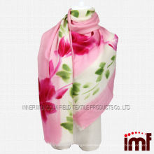 Red Flower Green Leaf Hand Painted 100% Mercerize Wool Shawl Scarf