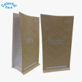 Custom resealable kraft paper stand up pouches coffee bag suppliers block bottom coffee bag