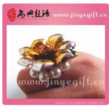 China atacado grande flor de cerâmica dourada anel de pérola do vintage