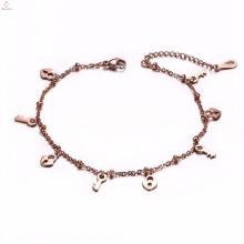 Hot sale simple rose gold bulk key lock charms bracelet anklet