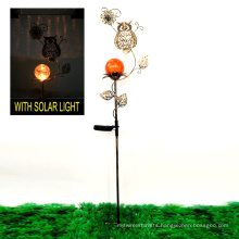 Valuable Garden Decoration Hollow Texture Solar Lighted Metal Owl Stake