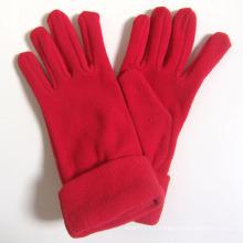Lady Fashion Red Polar Fleece Knitted Winter Warm Gloves (YKY5446)