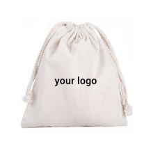 wholesale printed logo lightweight reusable cotton canvas eco friendly drawstring bag with double string