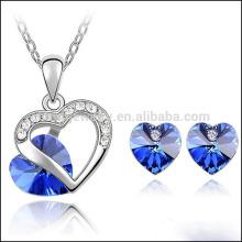 Amado corazón conjunto de joyas genuinas elemento austríaco collar de cristal pendiente conjunto ST019