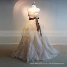 Graceful Sweet Heart sin mangas Ruffle ORG Sash vestido de novia tren de la capilla