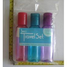 3PCS Kit de bouteille de voyage pour emballage cosmétique, bouteille de disque de disque coloré
