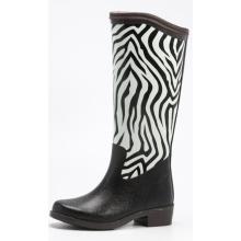Женщины зебра печати зимняя резина дождь сапоги