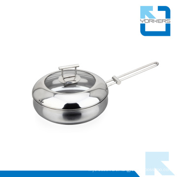 High Quality 304 Stainless Steel Double Bottom Frying Pan