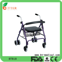 Foldable rollator walker with PVC soft seat shopping bag