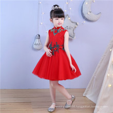 High Collar Lace Embroidery Red Flower Girl Dress for Wedding