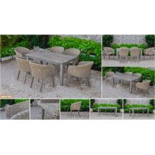 COLECCIÓN de CANARY - La tabla vendida 2017 de la rotén del PE del poliester de la cena y 6 sillas Muebles de jardín al aire libre