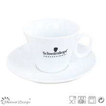 White Porcelain with Silk Screen Coffee Cup & Saucer