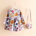 2017 hot sell Printed girl dress 2pcs princess dress set floral girl dress with bag for casual wearing