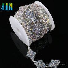 China fornecedor de moda acessório de vestuário decorativo cristal applique strass cadeia guarnição