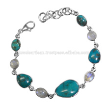Arizona Turquoise And Rainbow Moonstone Gemstone 925 Solid Silver Bracelet