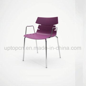 Оптовая Цвет настраиваемый пластиковый стул с хромированной стальной ногой и подлокотником (СП-UC494)