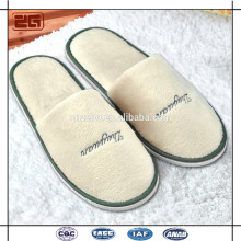 China Factory Wholesale Cheap Logo Disposable Terry White Hotel Slippers