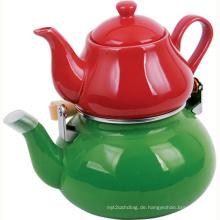 Emaille und Porzellan Teekanne Set (Enamel Kettle) - 1