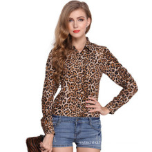 2017 Fashion design long sleeve blouse leopard-print pattern chiffon lady blouse