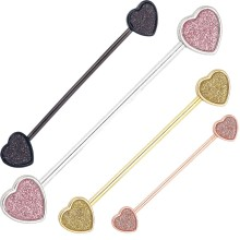 Sandblasted Heart Design Ear Cartilage Industrial Barbell