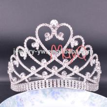 La corona cristalina grande alta de la tiara del desfile grande del estilo más nuevo