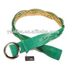 Mulheres PU cinto com PU verde, liga acessórios, ródio chapeado, rebites, couro trançado