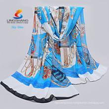 LINGSHANG 2015 new fashion design high quality print long women's shawl chiffon scarf