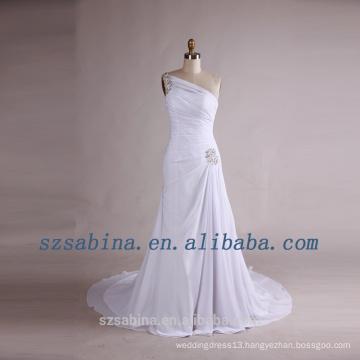 2017 fashion white chiffon pleat beads sheath evening dress with long train
