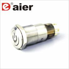 Interruptor de botón pulsador del metal del logotipo de la energía del botón plano de 12m m