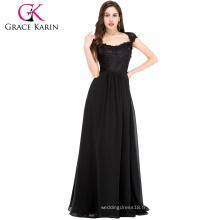 Grace Karin Black Lace Long Tall Mère de la mariée Robes CL6127