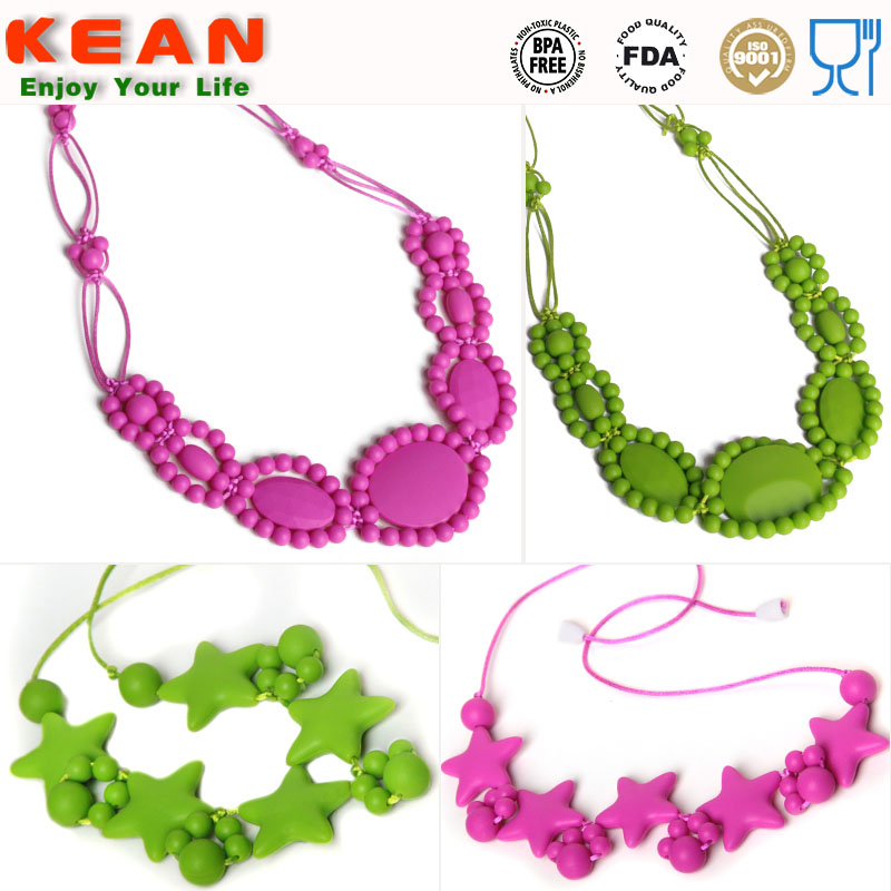 Double cord silicone baby necklace