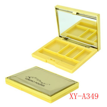 Yellow Color 4 Pans Eyeshadow Container With Mirror
