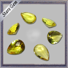 Ярко-желтые груши разрезать низкую цену кубического циркония CZ камень