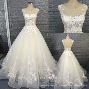 Vestido de noiva de organza sem costura sexy com design quente