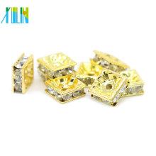 Top Quality IA0302 Gold Plating Metal Brass Jewelry Cross Rhinestone Spacer Beads