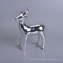 Silver Mercury Animal Ceramic Mantle Shelf Table Centerpiece Deer Decor