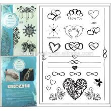 2015 el nuevo comercio exterior que vende el tatuaje temporal del tatuaje del diseño de la forma del corazón de la etiqueta engomada del tatuaje puede mezcló hornada j023