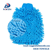 Double side use microfiber chenille car washing house cleaning wash mitts