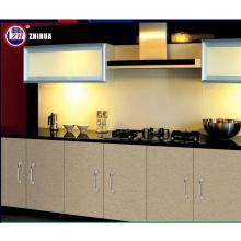 Moderno de alta laca brillante plana paquete diseños de gabinete de cocina de madera con piedra de la encimera