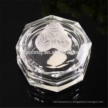 Кристаллическая коробка ювелирных изделий с к9 хрустальная роза,восьмиугольник формы коробка ювелирных изделий cryatal